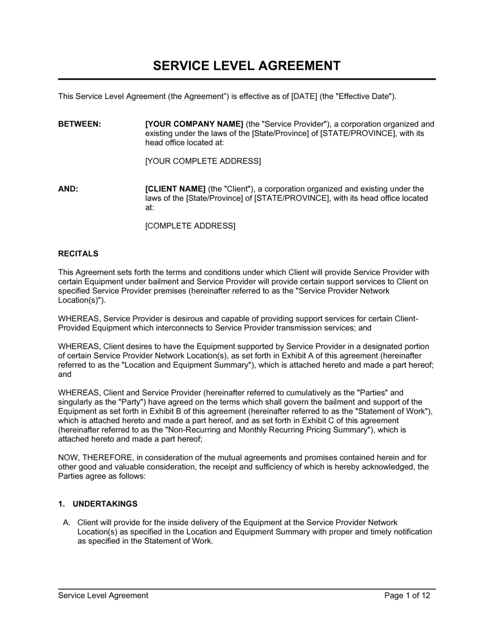 Business-in-a-Box's Service Level Agreement Template