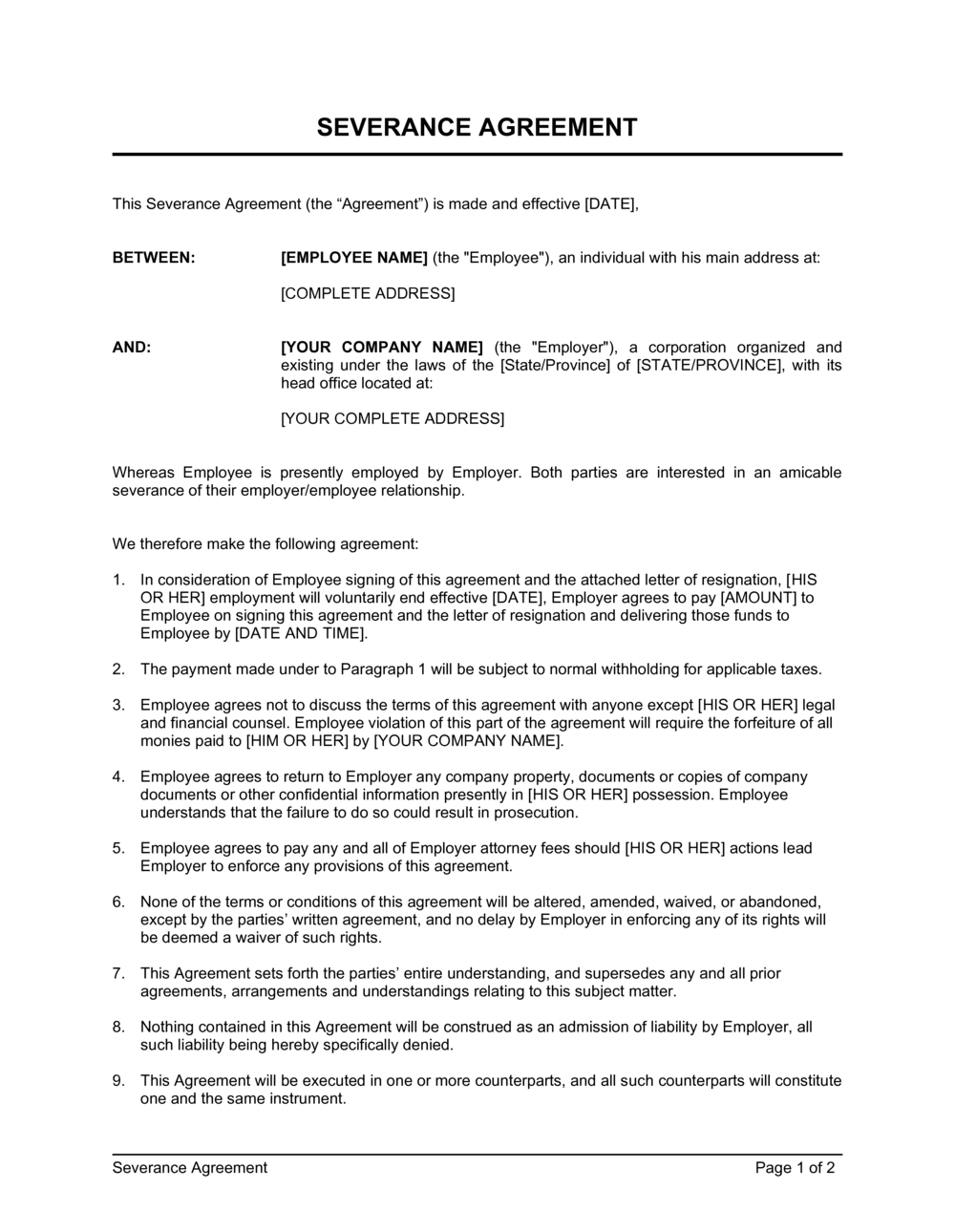 Business-in-a-Box's Severance Agreement Template