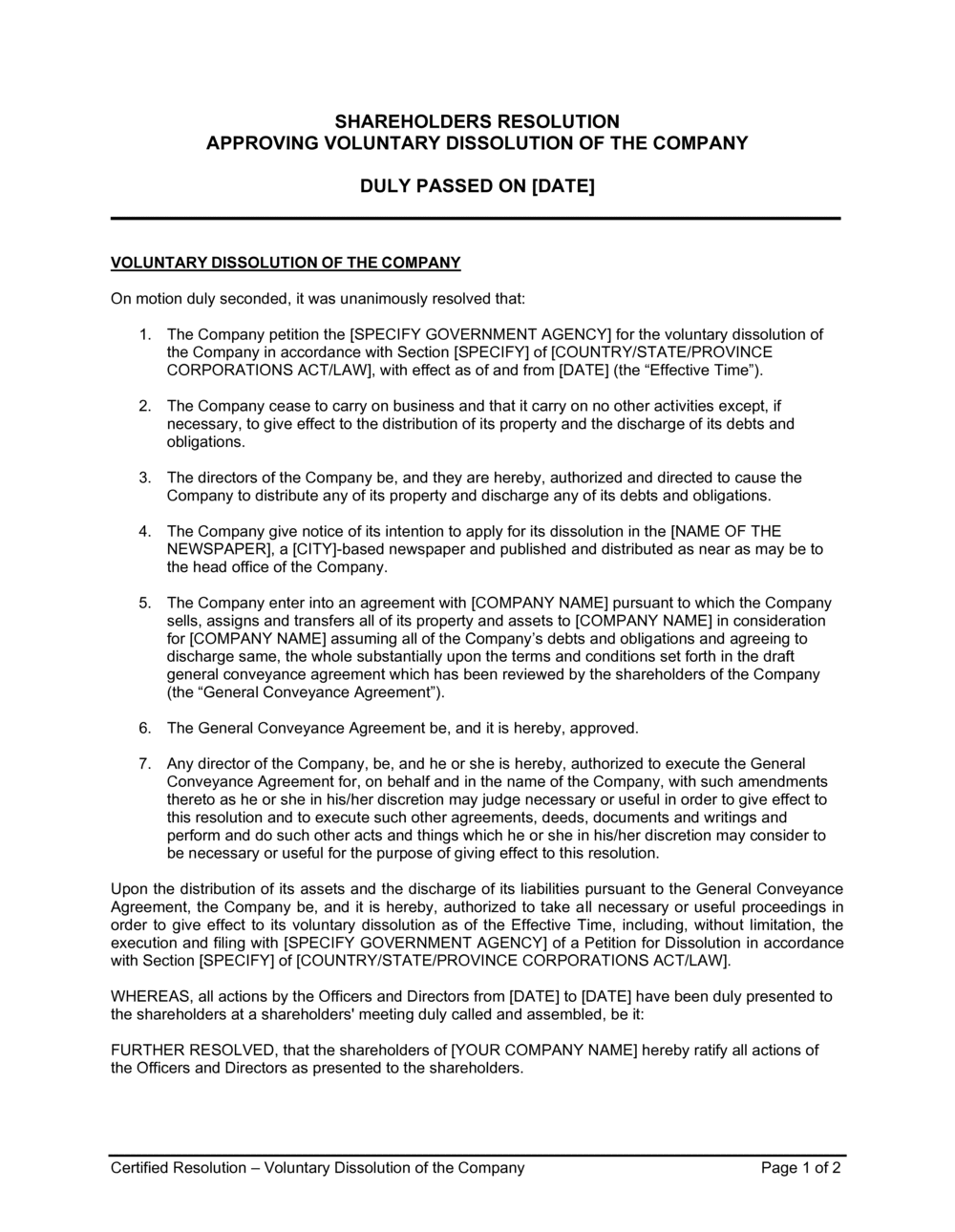 Business-in-a-Box's Shareholders Resolution Approving Voluntary Dissolution of the Company Template