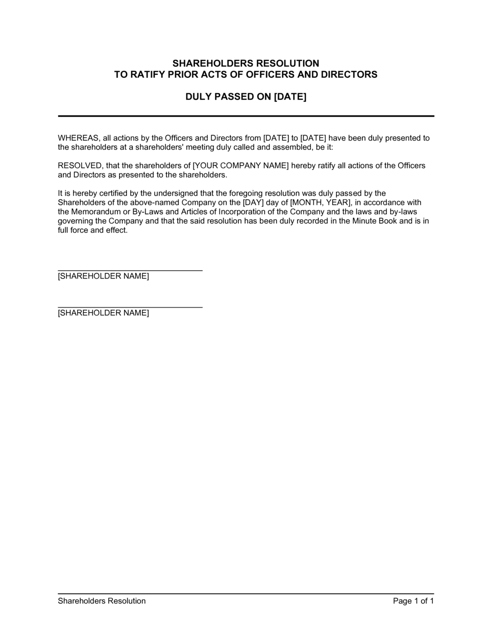 Business-in-a-Box's Shareholders Resolution Ratyfing Prior Acts of Officers Template