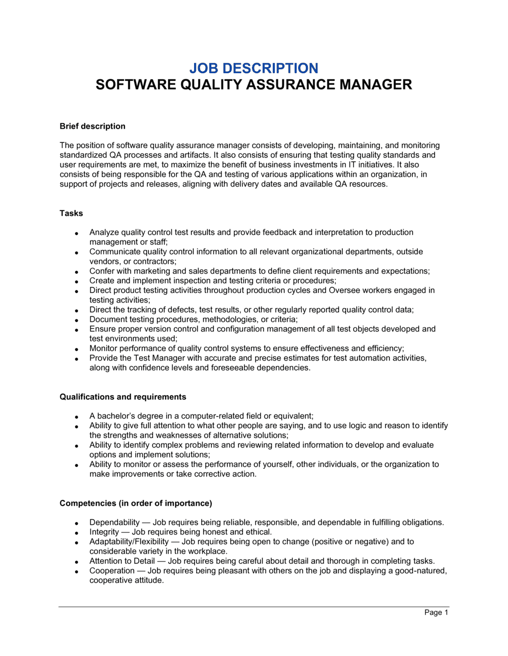 Business-in-a-Box's Software Quality Assurance Manager Job Description Template
