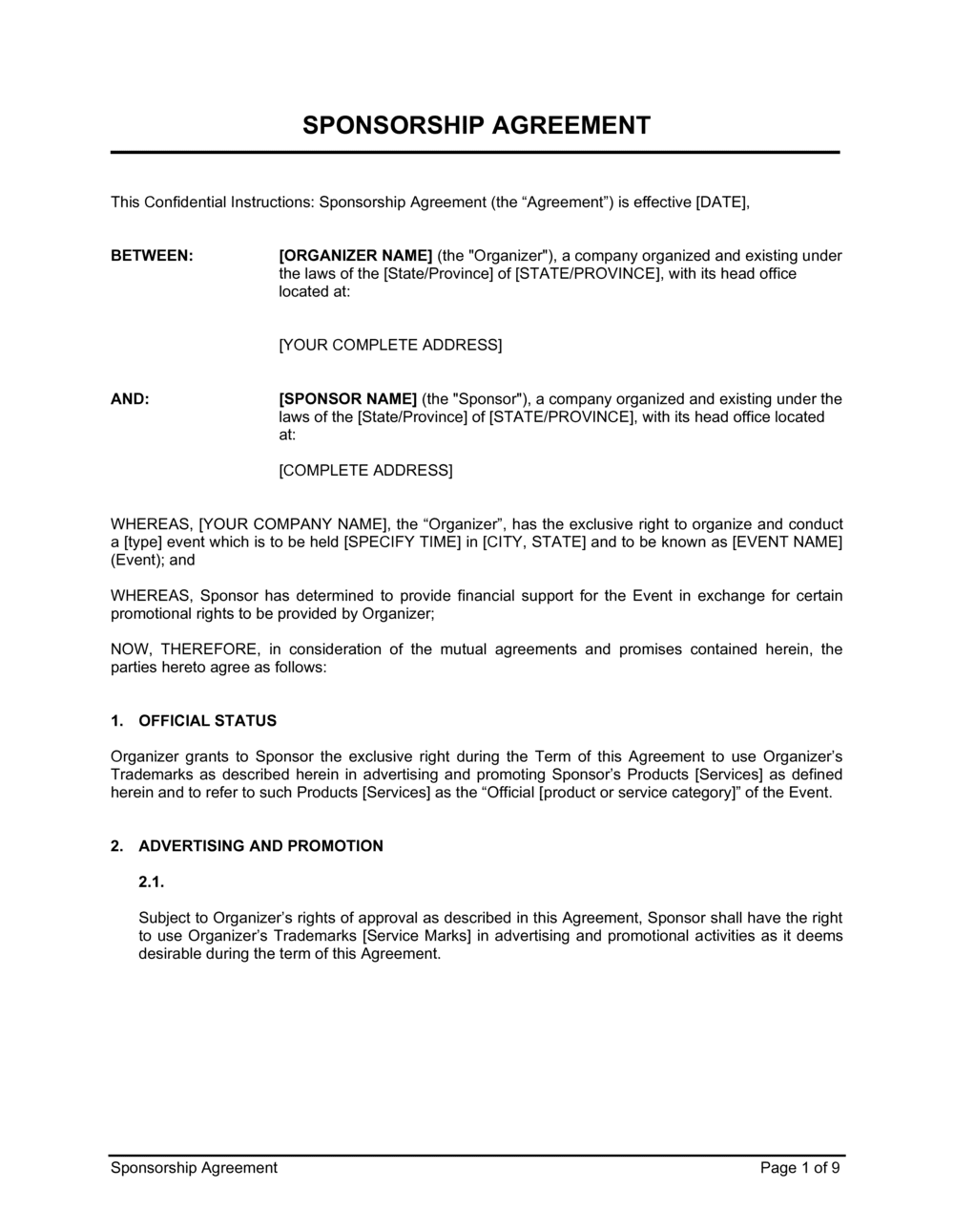 Business-in-a-Box's Sponsorship Agreement Template