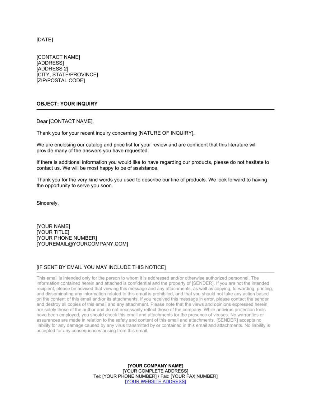 Business-in-a-Box's Standard Cover Letter in Response to Inquiry Template