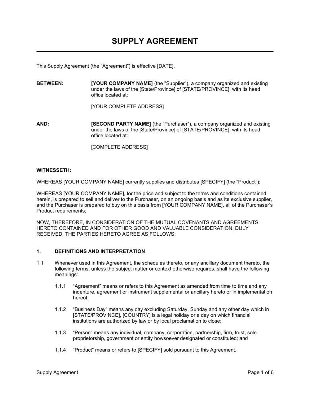 Business-in-a-Box's Supply Agreement Template