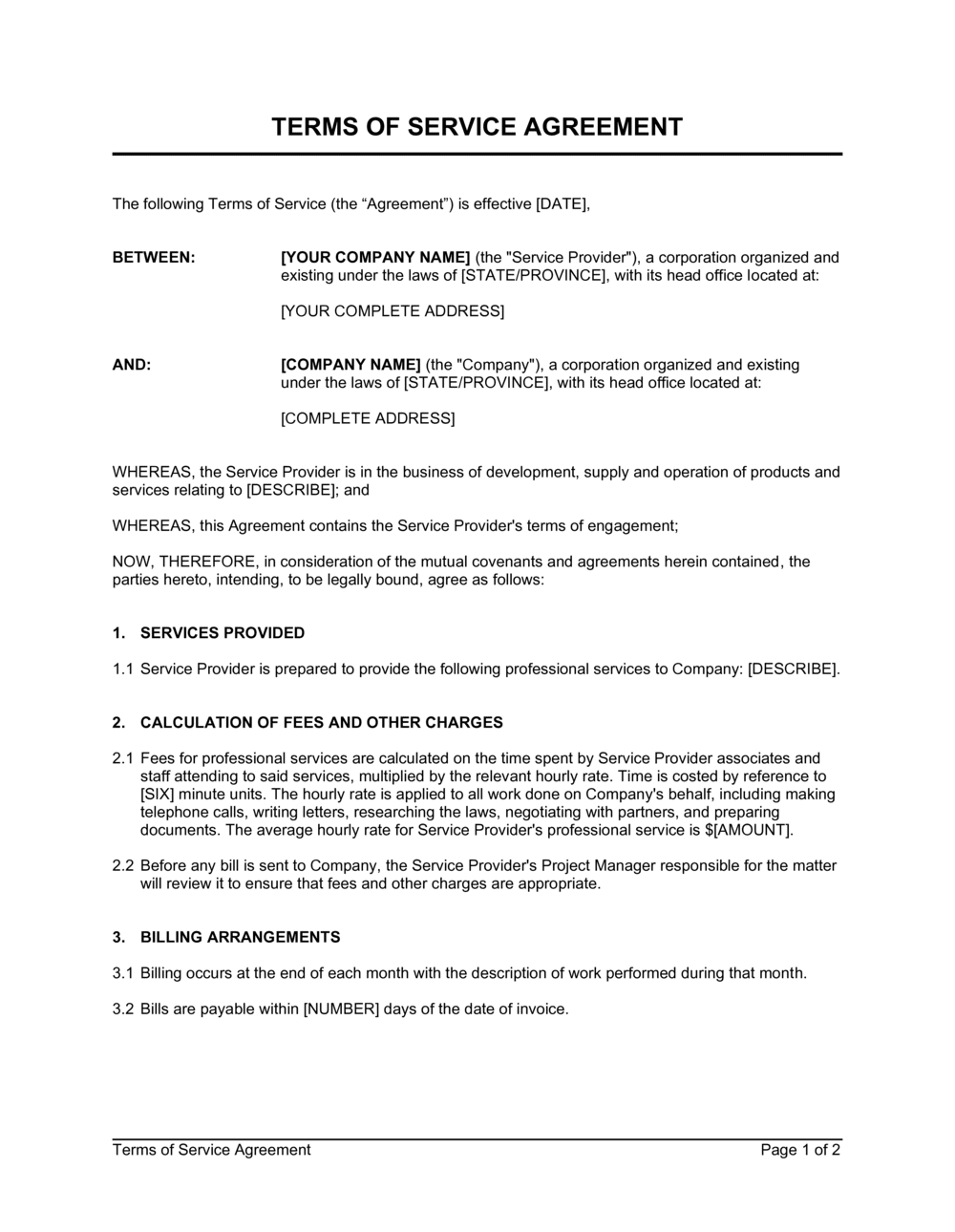 Business-in-a-Box's Terms of Service Agreement Template