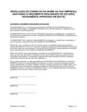 Resolução da Diretoria Adotando o Orçamento Realinhado [20XX-XX]