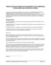 Resolução da Diretoria Aprovando um Acordo de Venda Diretor Único