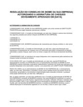 Resolução da Diretoria Autorizando a Assinatura de Cheques