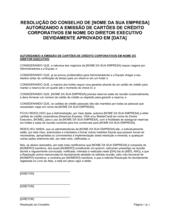 Resolução da Diretoria Autorizando a Ativação de Cartões de Crédito Corporativos