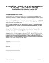 Resolução da Diretoria Emendando a Assinatura de Cheques
