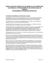 Resolução da Diretoria Emendando o Procedimento de Aprovação de Cheque