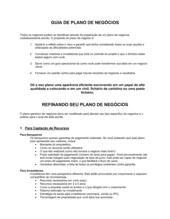 Linhas Guias do Plano de Negócios