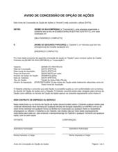 Aviso de Garantia de Opção de Ação