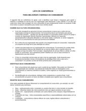 Lista de Conferência Para Melhorar o Serviço ao Consumidor