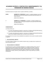 Vendedor de bienes raíces Acuerdo de contratista independiente