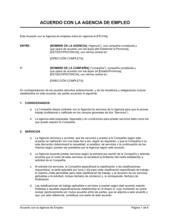 Acuerdo con la agencia de empleos