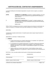 Certificación del contratista independiente