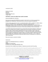 Carta de cobro mediante agencia de cobros