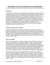Desarrollo de una propuesta de subvenciones