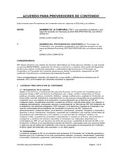 Acuerdo para proveedores de contenido