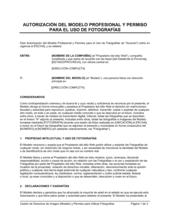 Autorización del modelo profesional y permiso para utilizar fotografías