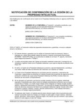 Notificación de confirmación de la cesión de la propiedad intelectual