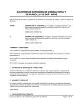 Acuerdo de desarrollo de software y de servicios de consultoría