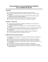 Evaluación de las actividades de asistencia en la cadena de valor