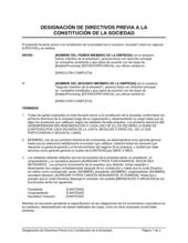 Designación de directores previo a la constitución de la sociedad