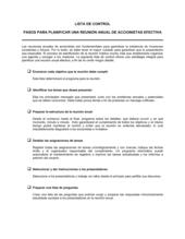 Lista de ítems a tener en cuenta pasos para la planificación de una asamblea anual