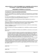 Resolución del directorio acusando recibo de la titularidad y fusión con otra compañía