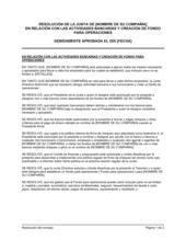 Resolución del directorio con respecto a actividades bancarias y creación de fondo para operaciones