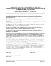 Resolución del directorio para autorizar la emisión de tarjetas de crédito corporativas