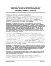 Resolución del directorio para el uso de tarjetas de crédito corporativas