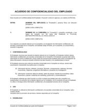 Acuerdo de confidencialidad por parte del empleado
