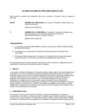 Acuerdo laboral para empleado clave