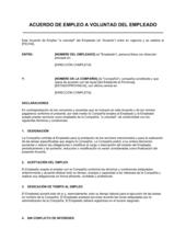 Acuerdo laboral para empleado voluntario