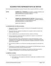 Acuerdo para representante de ventas