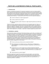 Texto de la entrevista para solicitante de empleo