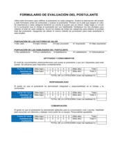 Formulario de evaluación para el postulante