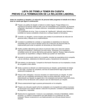 Lista de ítems a tener en cuenta previo a la extinción de la relación laboral