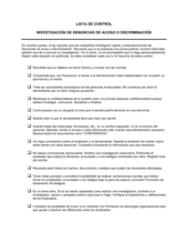 Lista de ítems a tener en cuenta investigación acerca de reclamos por acoso