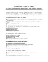 Lista de ítems a tener en cuenta cómo planear una campaña efectiva por correo directo