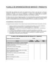 Planilla - Diferenciación de productos y servicios