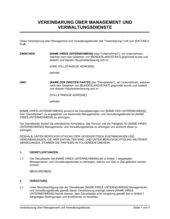 Vereinbarung über Management und Verwaltungsdienste