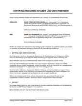 Vertrag zwischen Inhaber und Unternehmer