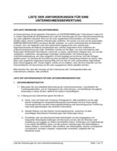 Liste der Anforderungen für eine Unternehmensbewertung