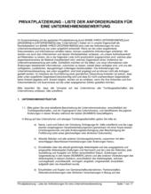 Privatplatzierung Liste der Anforderungen für eine Unternehmensbewertung