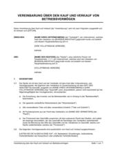 Vereinbarung über den Kauf und Verkauf von Betriebsvermögen