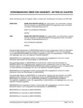 Vereinbarung über ein Angebot, Aktien zu kaufen